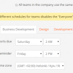 Different weekday schedule for different teams