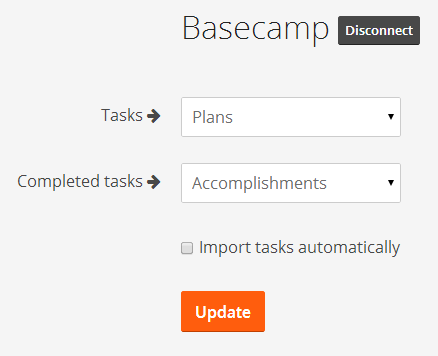Basecamp reporting and todo imports into Weekdone