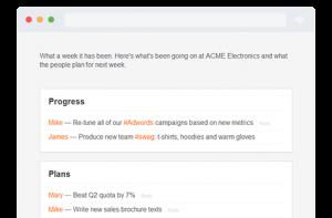 status report with status reporting tool Weekdone