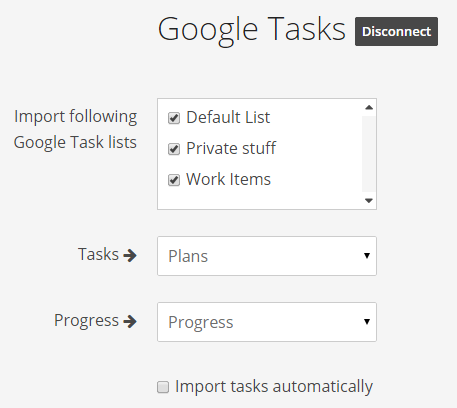 Import Google Tasks to Weekdone