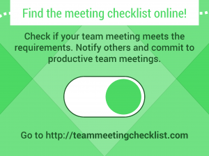 Effective Team Meeting checklist