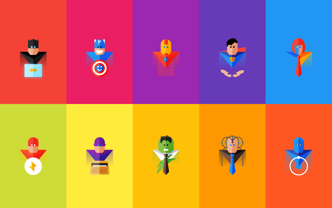 10 superheroes at work weekdone