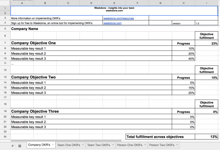 Why you shouldn 39 t use spreadsheets to set and track your for Google okr template