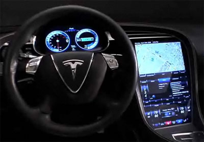 Tesla Model X interior in the dark