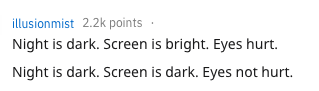 Reddit user's response on the benefits of dark mode