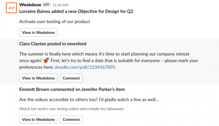 Weekdone newsfeed in Slack