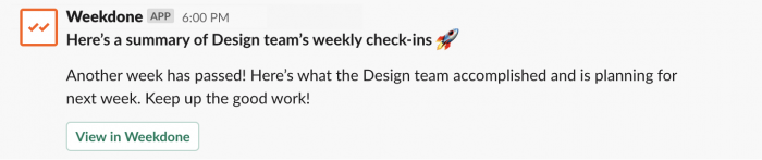 Weekdone report ready in Slack